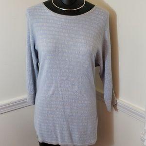 Dana Buchman heather grey and periwinkle sweater